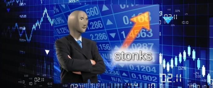 """Meme """"stonks"""" - grafia errada da palavra """"stocks"""" (ações em inglês) representa uma comemoração de uma situação vitoriosa ou de vantagem."""